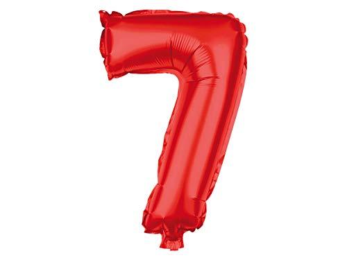 Alsino, XXL folieballon, ballon, heliumballon, cijferballon, getallen 0-9, rood, 80 cm, party, verjaardag, bruiloft Eén maat bal-147 cijfer 7