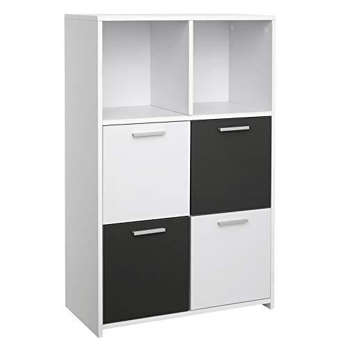 VASAGLE Bücherregal mit 6 Fächern, Standregal, Bücherschrank mit 4 Schranktüren, Aufbewahrungsschrank, modern, weiß-grau LBC28WG