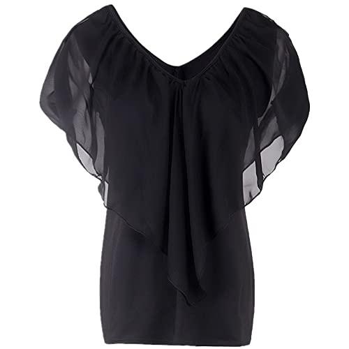 Camiseta Mujer Elegante Gasa Patchwork Camiseta Verano Nueva Cómoda Manga Murciélago Cuello Bajo Moda Slim Fit Tipo Transpirable Todo Fósforo Camiseta Todos Los Días A-Black S