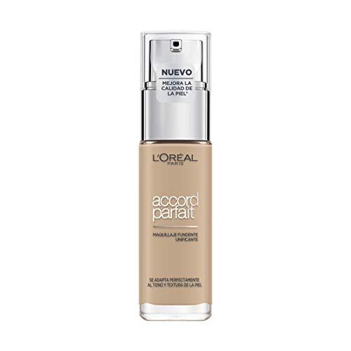 L Oréal Paris Accord Parfait, Base de maquillaje acabado natural con ácido hialurónico, tono piel claro 2N, 30 ml