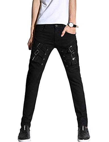 DealMux Pantalones para Hombre DSDZ Motocycle Hip Hop Skinny Rock Punk