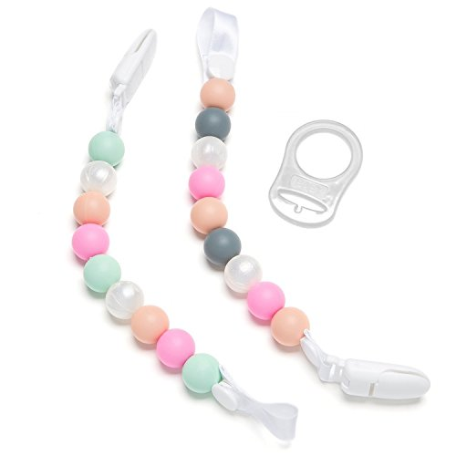 2 Pack Nuk /& Soothie Pinks Bonbino Teether Pacifier Clips - Colorful and BPA-Free Pacifier Holder Fun Silicone Pacifier Holders for MAM
