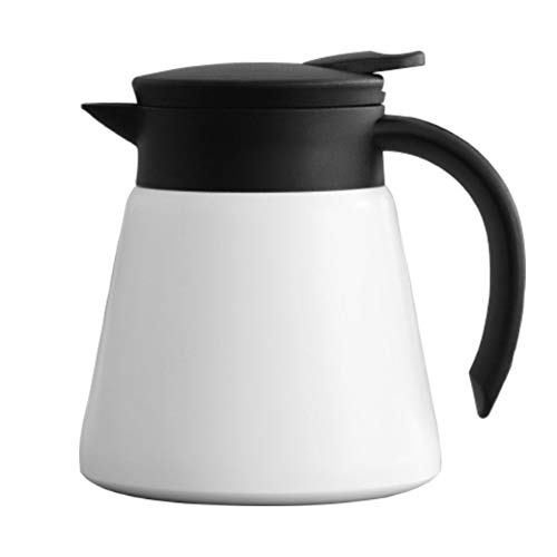 Thermoskan Koffie van het Roestvrij Thermal Pot Met Deksel Greep/Double Walled Thermoskan 600ml Rood Wit Thermisch geïsoleerd Airpot (Color : White, Size : 600ML)