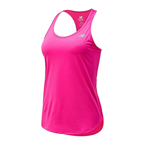 New Balance Accelerate Tank Camisa, Rosa GLO, S para Mujer