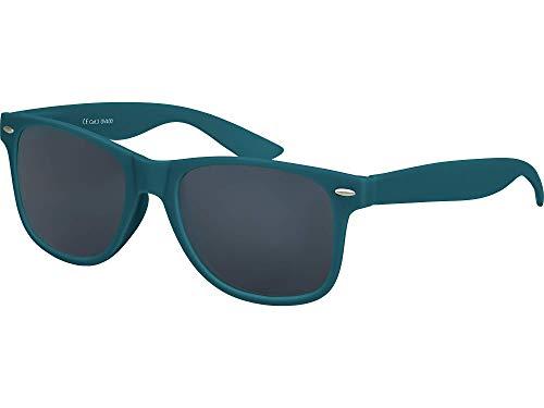 Balinco Hochwertige Nerd Sonnenbrille Rubber im Retro Stil Vintage Unisex Brille mit Federscharnier - 96 verschiedene Farben/Modelle wählbar (Dunkelblau/Grün - Smoke)