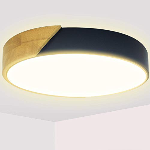 Kimjo Plafoniera LED 24W 2400LM Lampada da Soffitto LED Moderno Bianco Caldo 3000K Ø30CM Plafoniera LED Legno per Cucina Camera da letto Sala Soggiorno Corridoio Ufficio Cantina