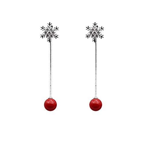 S925 plata pin moda largo conjunto de perforación copo de nieve stud simétrico perla roja lyso pendiente pendientes de personalidad