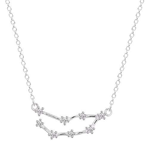 MCAdianpu 925 zilver sterrenbeeld sterrenbeeld halsketting horoscoop teken zirkoon sieraden ster Galaxy weegschaal vrouwen halsketting geschenk