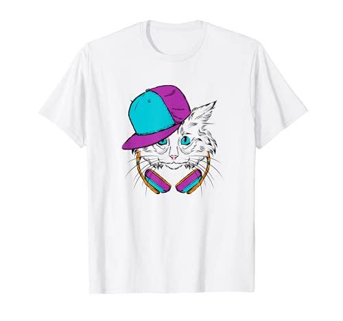 Gato Con Auriculares 80s Disfraz EDM Msica Im Con El DJ Camiseta