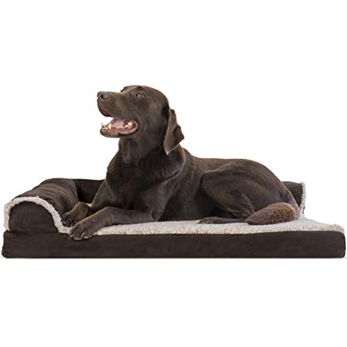 Furhaven Pet Dog Bed - Deluxe Orthopedic Two-Tone Plush and Suede L Shaped Chaise Lounge Living Room Corner Couch Pet Bed with Removable Cover for Dogs and Cats, Espresso, Large