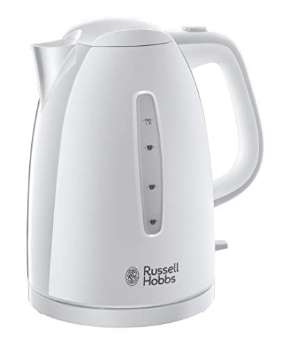 Russell Hobbs Textures - Hervidor de Agua Electrico (2400W, 1,7l, Plastico Alto Brillo, sin BPA, Blanco) -ref. 21270-70
