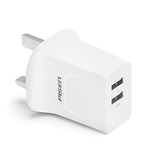 PISEN USB Plug Charger, 2 Port Wall Plug Fast Phone Travel Adapter 2.4A Output Compatible with Nintendo Switch iPhone Xs/XS Max/XR/X/8/7/6/Plus, iPad Pro/Air 2/Mini 4, Samsung, and More