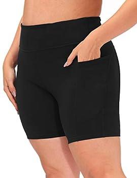 Hanna Nikole Yoga Shorts for Women Plus Size High Waist Tummy Control Workout Pants Black 22W