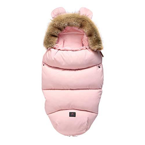 CCFCF Luxus Winter Baby Schlafsack Für Kinderwagen mit Fell, universell Fußsack fussack für Kinderwagen Buggy,Rosa,M