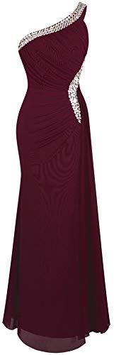 Angel-fashions De las Mujeres Un Hombro Ruching Cuentas Cinta Escotado por detras Vestido Largo (L, Vino Rojo)