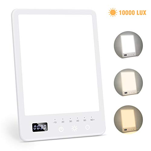 Read About Light Therapy Lamp, UV-Free 10000 Lux LED Sun Light with 3 Colors Temperature, Stepless B...
