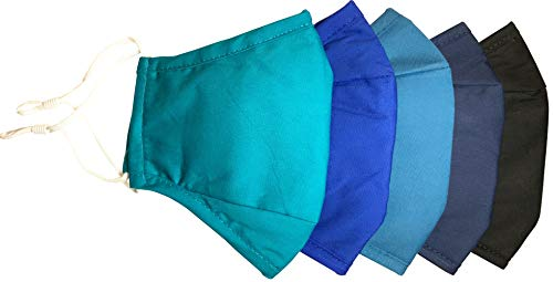 Xchime Assorted Colors Face Covering with Adjustable Ear Loops, Nose Wire, Filter Pocket, 3-layer Cotton, Washable Reusable and Breathable, for teens, men or women, Not Floral Fruit color, 5-pack