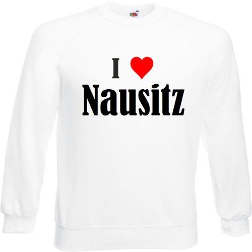 Reifen-Markt Sudadera I Love Nausitz para mujer, hombre y niños en los colores negro, blanco y azul con estampado Blanco M