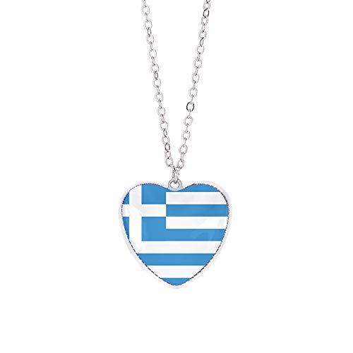 Griechenland Flagge Halskette Anhänger Kristallglas herzförmige Souvenir, Mode handgefertigte Halskette für Mann & Frau besonderes Tagesgeschenk