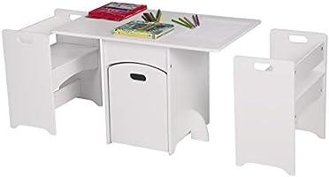 eSituro SCTS0007 Kindersitzgruppe 1 Kindertisch und 2 Sitzbänke Set, Kinderschreibtisch mit 1 Bewegbare Spielzeugkiste,...