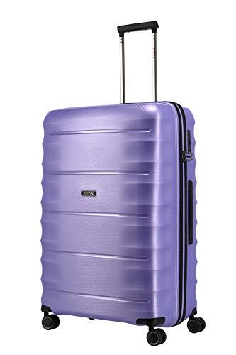 TITAN 4-Rad Koffer L groß mit TSA Schloss, Gepäck Serie HIGHLIGHT: Leichte Hartschalen Trolleys im Carbon Look, 842404-19, 75 cm, 107 Liter, lilac metallic (lila)