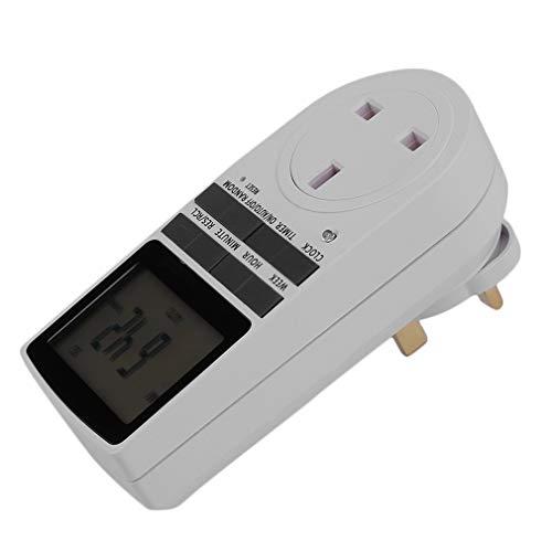 DAMAJIANGM 12/24 Horas, LCD cambiable, electrónico, electrónico, Temporizador programable, Interruptor, Enchufe Blanco para Reino Unido