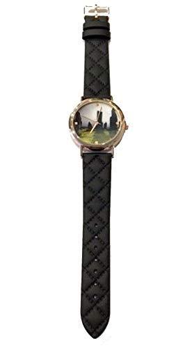 Outlander inspirierte schottische Uhr mit Steinen in Roségold-Optik mit schwarzem Armband