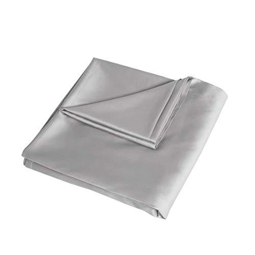Sleepdown 100% satén de algodón antialérgico, sábana encimera de 300 Hilos, Ropa de Cama de Lujo – Plata – tamaño King (265 cm x 275 cm), Plateado, Matrimonio