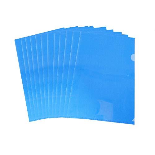 Wiekyze - Carpeta de plástico transparente para proyectos (12 unidades, tamaño A4), color azul