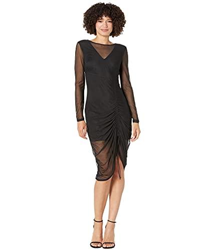 bebe Solid Mesh Long Sleeve Dress Black SM