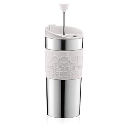 Bodum Travelpress 0.35 L Mug de Viaje, plástico, Acero, Blanco Crema, Centimeters