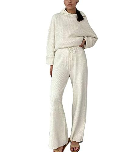 Conjunto de 2 piezas de suéter de punto con capucha de cintura alta y pierna ancha para mujer