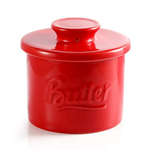 Sweese 322.104 Porcelain Butter Crock Keeper - French Butter Dish with Lid - Butter Relief, Red
