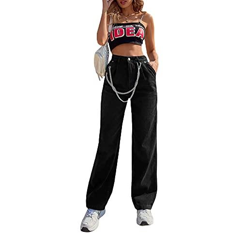 Siyova Jeans Donna Casual a Vita Alta Pantaloni Larghi a Gamba Dritta con Tasca a Catena Jeans Nero Ragazza Pantaloni in Denima Strada (Nero, M)