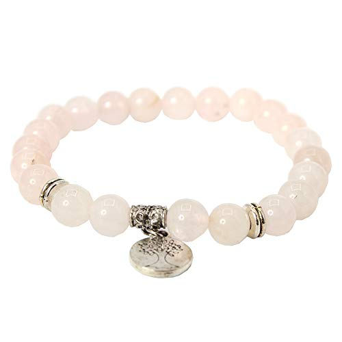 JUSTFOX - Edelstein Armband Geschenkidee Chakra Rose Quartz