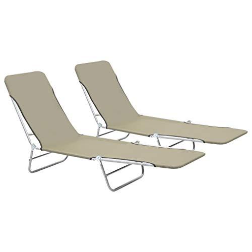 Festnight 2 x Chaise Longue Pliables de Jardin Réglable Bain de Soleil pour Patio ou Balcon en Acier Taupe 56 x 182 x 24,5 cm