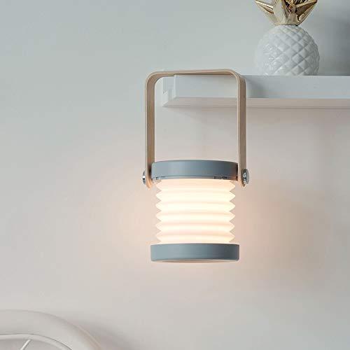 RGF Luces de Linterna Lámparas de Mesa LED Plegables retráctiles Carga USB Dormitorio Cabecera de Lectura Luces nocturnas (Color : Gray)