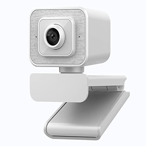 Cámara de computadora Smart Cam FHD, unidad sin USB, luz de llenado, 2K Auto Focus Web Video Live Beauty Camera para transmisión en vivo y videoconferencia (blanco, 1080P)