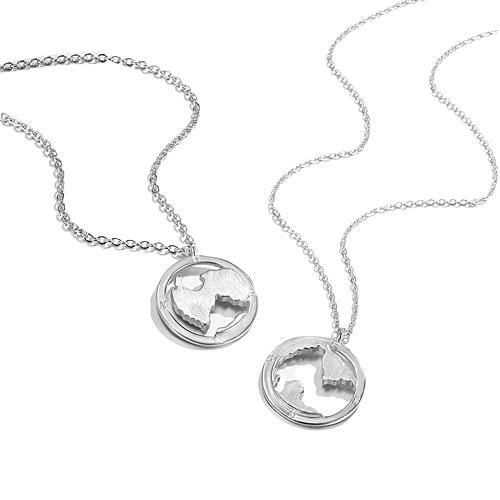 NA/ Collar de Pareja de mapas, un par de Colgantes de Placas de Plata esterlina, Accesorios de diseño pequeño