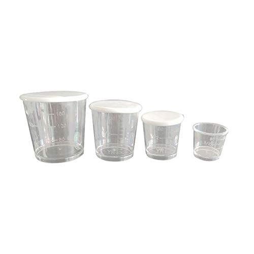4 vasos medidores plástico transparentes duraderos