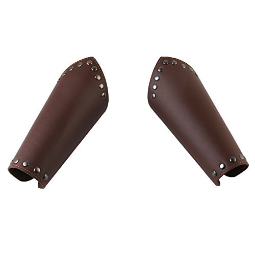 HZMAN Faux Leather Arm Guards - Medieval Cross Bracers - One Size (Brown)