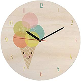 Wooden Textured BG with IceCream Wooden Analog Wall Clock MGT162 30 X 30 Cm