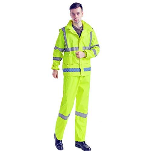 QSS High Visibility Langarm-Polo-Shirt mit Reflexfolie Sicherheits-Sicherheits-Arbeits Knopf Atmungsfähig Leicht Double Tape Arbeitskleidung Set Plus Big Size Raincoat Set (Size : XXXXL)