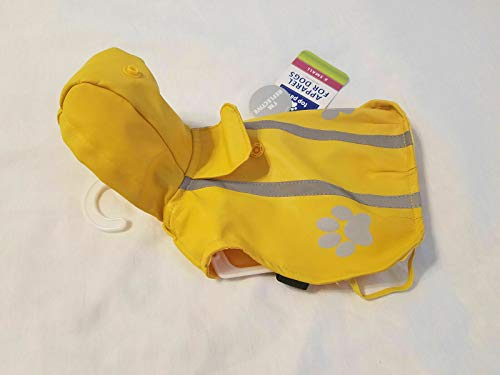 TOP PAW Outdoor Yellow Reflective Pet Raincoat~X-SMALL~