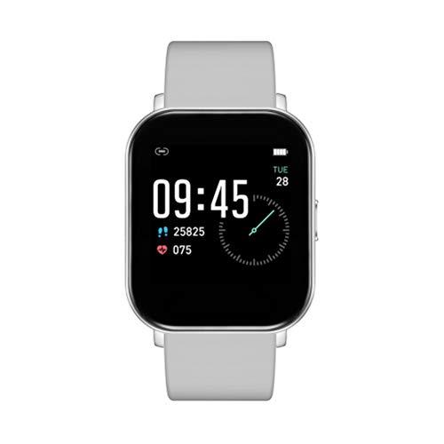HDDFG Reloj inteligente de fitness con Bluetooth, resistente al agua, temperatura corporal, frecuencia cardíaca, pantalla táctil completa, (color: gris)
