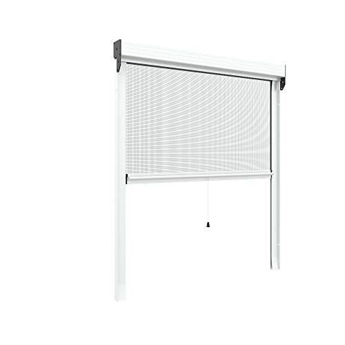 Zanzariera verticale 40 mm per finestre su misura personalizzabile a molla antivento telaio con profilo robusto e resistente in alluminio Bianco