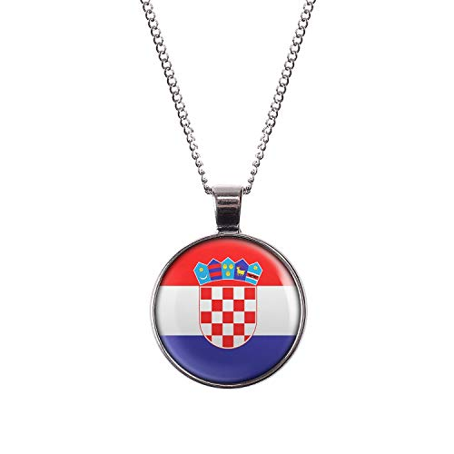 Mylery Hals-Kette mit Motiv Kroatien Zagreb Croatia Flagge Silber 28mm