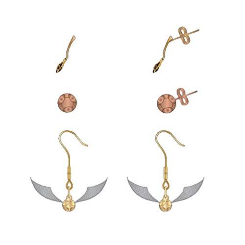Bioworld International Harry Potter Stud Earrings Set Quidditch 3 Pares de escobas Quaffle Golden Snitch Jewelry