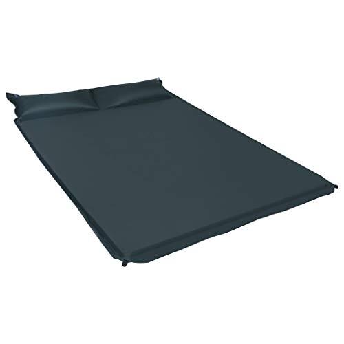 vidaXL Isomatte Aufblasbar mit Kissen für 2 Personen Selbstaufblasend Schlafmatte Thermomatte Campingmatte Camping Matratze 130x190cm Dunkelgrün
