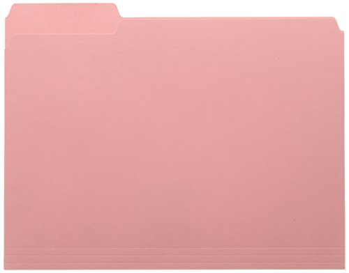 Smead Interior File Folder, 1/3-Cut Tab, Letter Size, Pink, 100 per Box (10263)